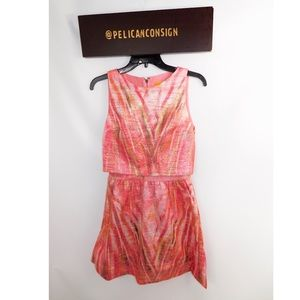 Alice and Olivia pink foil tiered dress 0